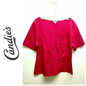 Candie's Hot Pink Soft sort Sleeve Top-Sz. XL